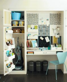 This tiny office and its adjoining cupboard have it all: pegboard or hanging items, whiteboard and chalkboard for notes, clearly labeled recycling containers as well as neatly stowed cleaning supplies.