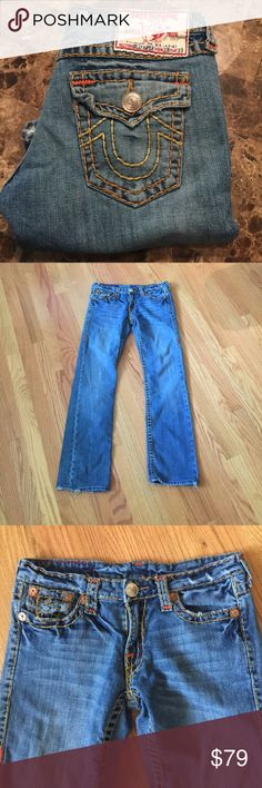 """True religion jeans Used condition hems frayed a bit and some of thread is coming loose as shown. Super cute 29"""" inseam True Religion Jeans Straight Leg"""