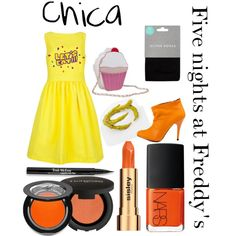 """""""Five nights at Freddy's inspired outfits #4 Chica"""" by tortured-puppet on Polyvore"""