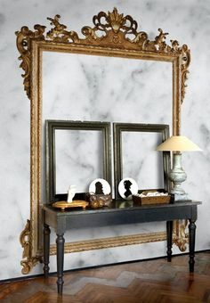 With Wall & Decò's Louis XV faux marble wallpaper, you can achieve the baroque without going broke. Contemporary Wallpaper, Modern Contemporary, Inspiration Wand, Casa Milano, Poster Mural, Empty Frames, Wall Treatments, Wall Wallpaper, Wallpaper Ideas