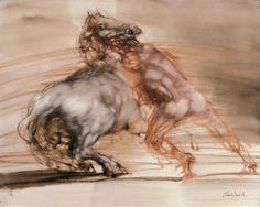 Claude WEISBUCH (Né en 1927)  Le cirque, personnage et cheval Huile sur toile Signé en bas à droite Signé et titré au dos 81 x 100 cm
