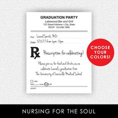 Prescription Invitation - PharmD - Pharmacy Nurse NP Doctor Invitation - Prescription Pad Invite - Printable Invitation - Graduation by nursingforthesoul on Etsy https://www.etsy.com/listing/503453064/prescription-invitation-pharmd-pharmacy