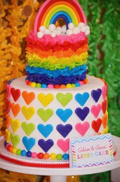 Sweet Simplicity Bakery: Rainbow Theme Birthday Party First Birthday Party; Fondant Heart and Ruffles Rainbow & Clouds Cake