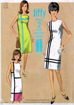60s Simplicity 6394 Mod Shift Dress Pattern MONDRIAN Color Block Iconic Op Art 3 YSL Styles Jiffy To Make Bust 36