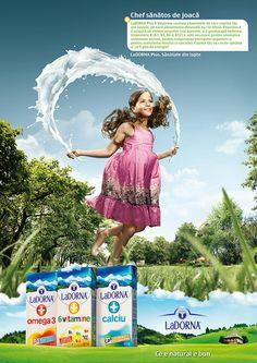 LaDorna Functional Milk - Print Campaign on Behance Ads Creative, Creative Posters, Creative Advertising, Advertising Design, Milk Advertising, Logos Retro, Social Media Design, Ad Design, Print Ads