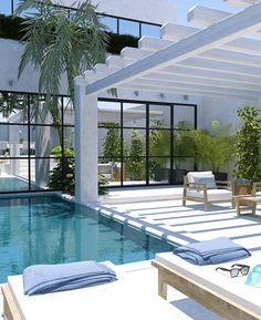 Proyecto de un patio de estilo contemporáneo con vegetación tropical, un placer para los sentidos.