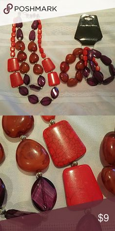 Matching necklace & bracelet set Red, purple, and light red necklace and bracelet set.  Necklace worn once, looks like 2 necklaces one a little shorter then the other but connects as one.  3 total bracelets can be worn together or separate.  Lake Shore Drive brand.  Paid $12 for the set. Lake Shore Drive Jewelry