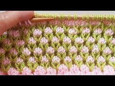 2 Renkli Lale Modeli / Knitted Tulip Stitch - YouTube Crochet Flower Patterns, Baby Knitting Patterns, Knitting Stitches, Crochet Flowers, Stitch Patterns, Knitting Help, Lana, Hand Embroidery, Knitted Hats