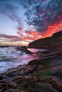 Arbroath Cliffs, known also as Seaton Cliffs. Arbroath, settled in the 12th century, lies 15 miles to the north east of Dundee*