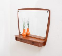 1950s Danish Modern Vintage TEAK Entry Wall Mirror Shelf w Drawer Mid Century #DanishModern