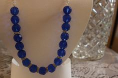 Royal Blue Glass Beaded Necklace with Crystals by AngeleDesignsLA, $32.00