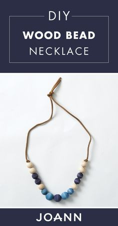 How cute is this DIY Wood Bead Necklace? Painted in soft blues and creams with a brown leather chain, this handmade accessory is a great addition to any spring outfit! Click to learn how to make it with help from JOANN. Leather Chain, Brown Leather, Diy Jewelry Projects, Beaded Necklace, Necklaces, Necklace Online, Valentine's Day Diy, Joanns Fabric And Crafts, Handmade Accessories