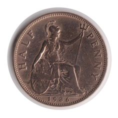 George V Half Penny 1936 Coin Polished Code: by COINSnCARDS