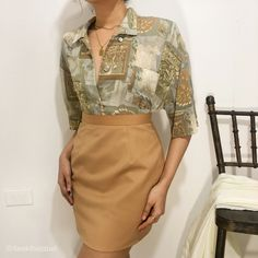 Vintage Tops, Vintage Inspired, Button Up, Leather Skirt, High Waisted Skirt, February, Chiffon, Skirts, Inspiration