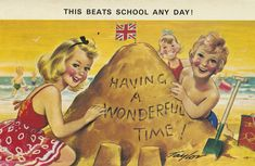 Vintage British seaside postcard- will everyone look this happy on their Picture Postcards, Vintage Postcards, Holiday Postcards, British Holidays, Bucket And Spade, Seaside Holidays, British Seaside, Retro Images, This Little Piggy