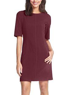 Berydress Womens Short Sleeve with Pockets Seamed ALine Dresses M Burgundy * For more information, visit image link.