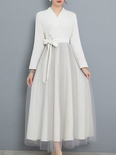 Retro Solid Color Contrast Sashes Bowknot Mesh Long Dresses Source by dress Modest Dresses, Stylish Dresses, Simple Dresses, Pretty Dresses, Casual Dresses, Long Dresses, Evening Dresses, Ball Dresses, Prom Dresses