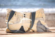 OFFSHORE BAGS  SANDY Cream Denim Shoulder Bag Handmade & Hand Dyed LT Resortwear