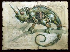 A steampunk chameleon.