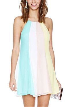 SO CUTE! Pastel Pink, Blue, Yellow, and White Backless Halterneck Sleeveless Chiffon Color Block Dress