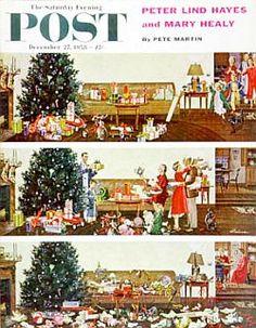 1960s christmas morning photos | 1956 George Hughes Christmas Train Set 1956 Discovery 1957 John Falter ...