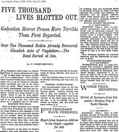 "Galveston Storm of 1900 Newspaper | ... of text reporting ""Galveston horror"" of the 1900 hurricane"