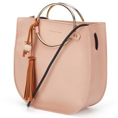 Women O-Ring Handle Tassel Handbag Metallic Handle Handbag Spring Women Crossbody Bags Purses And Handbags (Pink): Handbags: Amazon.com