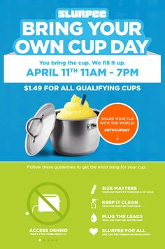 Pinned April 8th: Fill your own cup - any size - with slurpee for $1.49 #Saturday at 7-Eleven #coupon via The #Coupons App