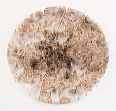 """Matthew Picton is a British artist who made superb cartographic paper sculptures called """"Map Sculptures"""". This represents various cities, such as San Francisco or Jerusalem, with papers having symbolic to the place represented. Coventry Map, London Map, Map Design, Book Crafts, Paper Crafts, Map Art, Contemporary Art, Artist, Paper Sculptures"""