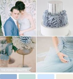 {romantic blues}: shades of blue + silver http://www.theperfectpalette.com/2013/01/romantic-blues-shades-of-blue-silver.html