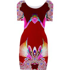 Red Abstract Fantasy Bodycon Dress from Print All Over Me