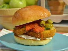 Fried Green Tomato Parm Sandwiches Recipe | Jeff Mauro | Food Network