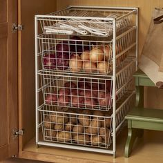 ClosetMaid ventilated wire drawer systems provide convenient, drawer storage for closets and other areas in the home. The drawer kit includes 4 basket drawers and a frame, making it perfect for use in your pantry, kitchen, closet or anywhere in your home! 5 Drawer Storage, Storage Hacks, Diy Storage, Storage Ideas For Pantry, Onion Storage, Drawer Ideas, Fridge Storage, Storage Shelving, Plastic Storage