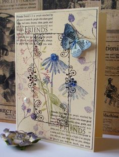 Hero Arts Card-- another way to use definition stamps with botanical stamps