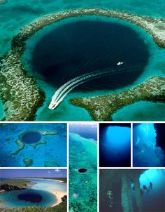 Blue holes are giant and sudden drops in underwater elevation that get their name from the dark and foreboding blue tone they exhibit when viewed from above in relationship to surrounding waters