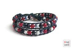 www.facebook.com/... Kulki Sznurki-biżutera personalizowana. Handmade jewellery. Wrap bracelets on leather #bracelet #bransoletka #agat #walentynki #valentinesday #prezenty #red #navy