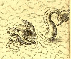 Ancient map rendering of mythological sea creatures.