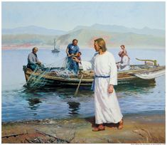 Jesus calls Simon-Peter and Andrew to follow Him; to become his disciples and eventually apostles. From fishermen to fisher of men. by Harry Anderson