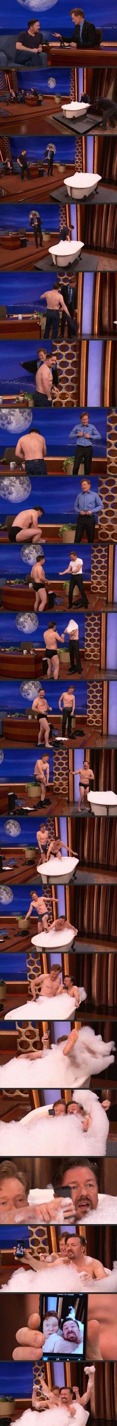 Conan O'Brien Takes A Bath With Ricky Gervais – 22 Pics