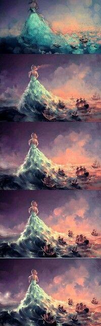 Een vrouw met een grote jurk aan, wat word gebruikt als water waar de boten op varen