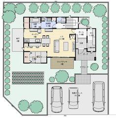 間取り成功例37坪 キッチンの前にキッズコーナー!子育てを楽しむ家 | アトリエコジマ~注文住宅理想の間取り作りと失敗しないアイデア・実例集~ Japanese Architecture, House Layouts, House Plans, Floor Plans, Indoor, Flooring, How To Plan, Space, Inspiration
