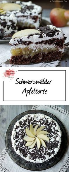Schwarzwälder Apfeltorte | Rezept | Backen | Kuchen Apple Pie Recipes, Baking Recipes, Sweet Recipes, Cake Recipes, Dessert Recipes, Tasty Bakery, Sweets Cake, Breakfast Dessert, Sweet And Spicy