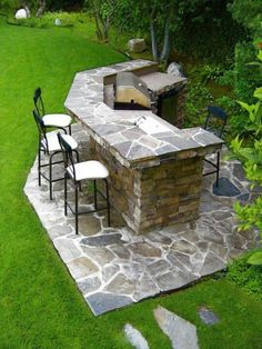 Outdoor kitchen! Add bar to area by grill?