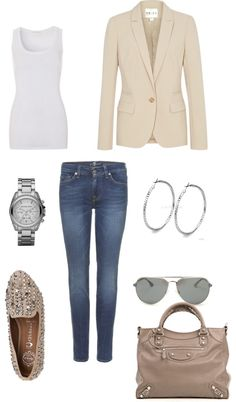 Cream blazer, lose the earrings and you've got a good outfit :)