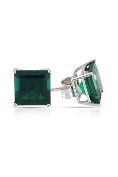2.3ct Created Emerald Earrings In 10k White Gold