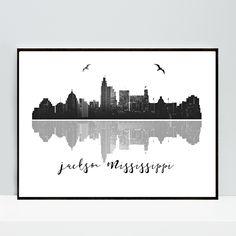 Jackson Mississippi Skyline Print, Mississippi Wall Art, Jackson City Skyline Black White, Modern Wall Art, Home Decor, Print Downloadable by MSdesignart on Etsy