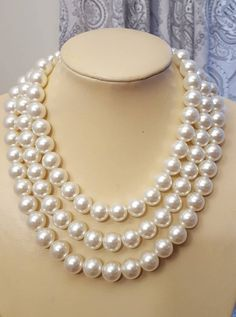 Chunky three layer pearl necklace,ivory large pearl wedding necklace,boho The pearls are The layers are and 20 inches long. It is a versatile statement necklace that can be worn with a crisp white shirt and jeans or an evening dress. Layered Pearl Necklace, Pearl Necklace Wedding, Boho Necklace, Pearl Jewelry, Jewelry Necklaces, Pearl Bracelets, Pearl Rings, Pearl Necklaces, Geek Jewelry