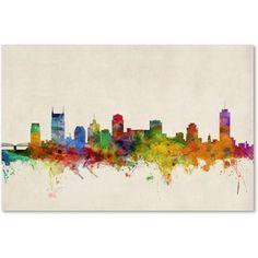 Trademark Fine Art Nashville Watercolor Skyline Canvas Art by Michael Tompsett, Size: 12 x 19, Multicolor