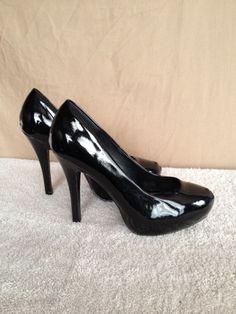 Breckelle's ~ Black Platform Pumps size 8.5 ~ Patent Heels Formal Dress Shoes #Breckelles #PumpsClassics