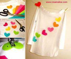 <3 ✄ DIY Custom T-Shirt Cœurs / DIY Sewing Heart T-shirt ✄ <3 http://www.creamalice.com/Coin_conseils/1-loisirs_creatifs_2013/5D-Tuto_Tee_shirt_Customise_Coeurs/Tuto_DIY_Tee_shirt_Customise_Coeurs.htm